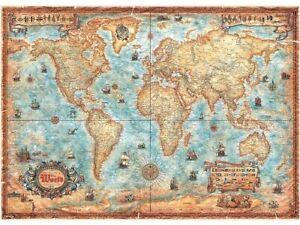 Heye 2000 Piece Jigsaw Puzzle - Map Art The World Map Damaged Box