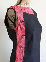 Red and Black Linen Women's Dress XL