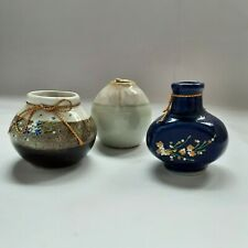 CERAMIC DECORATIVE VASES LOVELY SMALL SET OF 3 COLOR BLUE , BROWN & GREEN