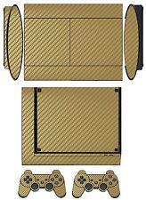 Golden Carbon Fiber Skin Sticker Cover for PS3 Super Slim and 2 controller skins