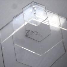 "(1) 1"",2"",3"",4""x1/8"" Hexagon Template Acrylic Plastic Nested Stencil Shape Clear"