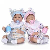 """16"""" Silicone Boy Girl Reborn Baby TwinsDolls Lifelike Newborn Toys Doll Gifts"""
