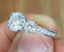 14K WHITE GOLD ROUND DIAMOND ENGAGEMENT RING THREE STONE BRIDAL WEDDING 1.60CTW