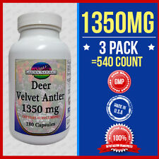 3Pak VELVET DEER ANTLER 1350MG 540 Cap DIETARY SUPPLEMENT Made USA Max Strength