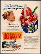 1956 DAIRY QUEEN Restaurant - 16th Birthday Sale - Strawberry Sundae VINTAGE AD