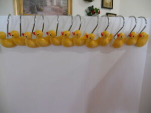 "Set of 12 Yellow Resin Duck Shower Curtain hooks ""All Perfect'"