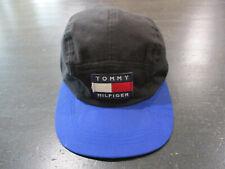 VINTAGE Tommy Hilfiger Strap Back Hat Cap Black Blue Panel Flag Spell Out 90s