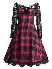 TALLA GRANDE xl-5xl Mujer Vestido Con Vuelo Detalle De Encaje Vintage Cuadros