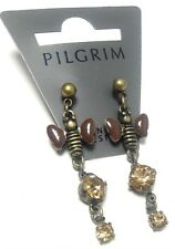 NEW PILGRIM EARRINGS SWAROVSKI CRYSTALS BEES PENDANT VINTAGE NEW 16K GOLD PLATED