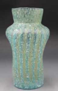 C1940s Italian Venetian Murano Gold Stone Art Glass Cabinet Vase Crimped Sides