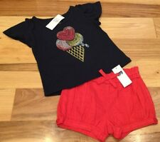 Baby Gap Girls 12-18 Months Outfit. Ice Cream Shirt & Red Shorts. Nwt