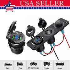 12/24V Car Charger QC3.0 Cigarette Lighter Socket  Waterproof Power Dual USB LED