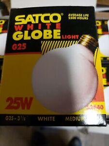 SATCO DECORATIVE INCANDESCENT 25W G25 WHITE GLOBE LIGHT BULBS S3440