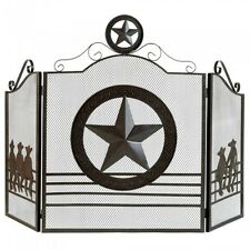 Lone Star Fireplace Screen Dallas Texas Western Rustic Cowboys Theme Home Decor