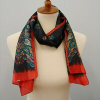 Black and Red Dotted Swiss Rectangular Floral Scarf