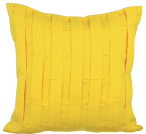 Yellow Luxury Accent Pillow Cover 22x22 inch Suede, Pintuck - Yellow Love Tune