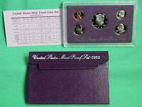 1992 S United States Mint ANNUAL Proof 5 Coin Set with Original Box and COA