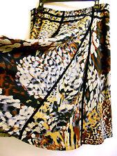 Lapis Knitted Paneled Flared Skirt Animal Print Gray Rust Brown Black Trim  XL