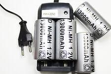Ladegerät RS08 + 4 BATTERIE Stack-d R20 LR20 13000mAh wiederaufladbare 1,2 V
