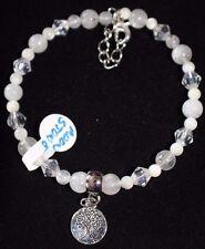 Bracelet Moonstone Gemstone Beads Austrian Crystals Tree of Life Dangle