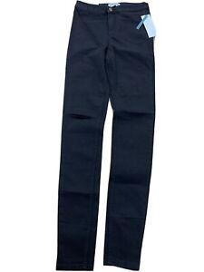 Ladies New Look High Waist Super Skinny Jeans Black Rip Knee Size 12 Tall B168