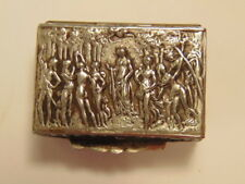 Small decorative silver colored pill box; classical scene on lid; marked Italy