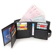 Mens Genuine Leather Bifold Wallet Credit/ID Card Holder Zipper Coin Purse Black