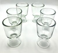Vintage Pressed Glass Bar Glasses/Juice Glasses Set Of Six Clear Open Foot