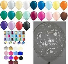 "Qualatex Wedding Latex Balloons 50 X 11"" Just Married Hearts Diamond Clear"
