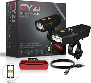 DYZI FULLY RECHARGEABLE BICYCLE / SUPER BRIGHT BIKE LIGHTS SET LIGHT WATERPROOF