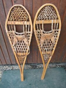 """GREAT OLD Snowshoes 42"""" Long x 12""""  with Leather Bindings For DECORATION"""