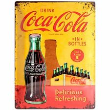 Vintage Style Retro Embossed Metal Plaque/Tin Sign - Coca Cola In Bottles