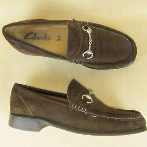 Clarks Loafer Horse Bit Moc Toe Slip On US 8.5 Men Suede Brown