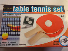 NEW Table Tennis Ping Pong Set 2 Paddles Rackets 3 Balls 1 Net On The Go