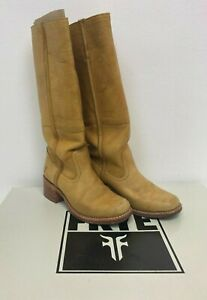 Frye Campus Shearling Brown Tan Leather Boots Size 4 E49