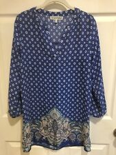Almost Famous Women's Tunic Top Size M Royal Blue Multicolored Pull-On Exc Cond