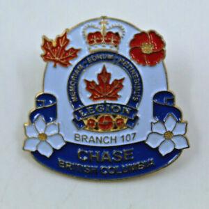 Legion Branch 107 Chase British Columbia Memoriam Collectible Pinback Pin Button