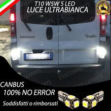 COPPIA LUCI TARGA A 5 LED RENAULT TRAFIC 2 II T10 W5W CANBUS NO AVARIA BIANCO