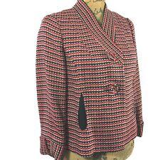 Etcetera 2 Sm Blazer Jacket Wool Bl Red Black Woven Diamond Tweed Pocket Work LN