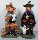 "Vintage Witch & Scarecrow 13"" Figure Pumpkin Ghost Halloween Prop Fabric Mache"