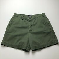 Vintage Polo Jeans Ralph Lauren Women's Shorts 12 Green Plain Flat Front Casual