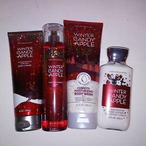Set of 4 Bath and Body Works Winter Candy Apple Fragrance Spray Lotion Cream
