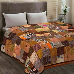 Indian Handmade Bedcover Decor Patola Silk Patch Kantha Quilt Throw Bedspread