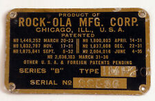 ANTIQUE BRASS ROCKOLA JUKEBOX NAME PLATE TAG RARE ROCK-OLA CHICAGO ILLINOIS !!