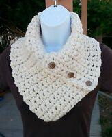 Light Cream NECK WARMER SCARF Solid Off White Crochet Knit Bulky Cowl w/ Buttons