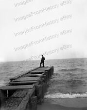 8x10 Print Early Photography Man Standing on Pier Silhouette 1903 #2016127