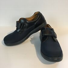 Dr Comfort Womens 9.5 Annie Diabetic Shoe Navy Blue Stretch Leather Trim Comfort