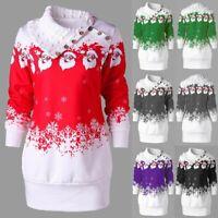Brief Women Christmas Santa Snowflake Print Button Tunic Long Sweatshirt Top C73