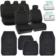 Black Seat Covers for Car Auto SUV Cloth 60/40 Split Bench w/ Rubber Floor Mats