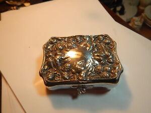 Old silver plate ornate dresser box roses pattern unmarked old estate